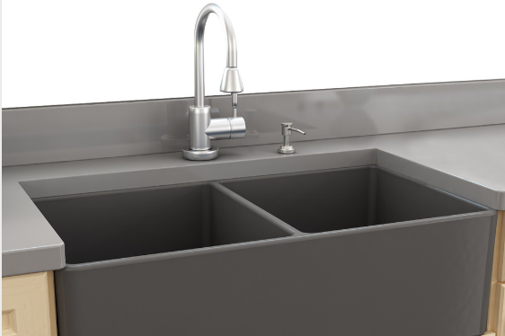 Double bowl clay kitchen sink