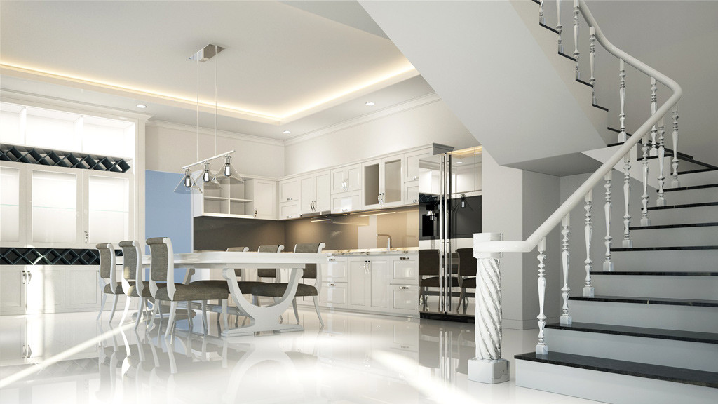 ... Open Kitchen 3D Design For Villa Interior Works In Dubai ...